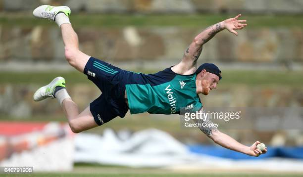 Ben Stokes of England catches during a nets session at the Sir Vivian Richards Stadium on March 1 2017 in St Johns Antigua