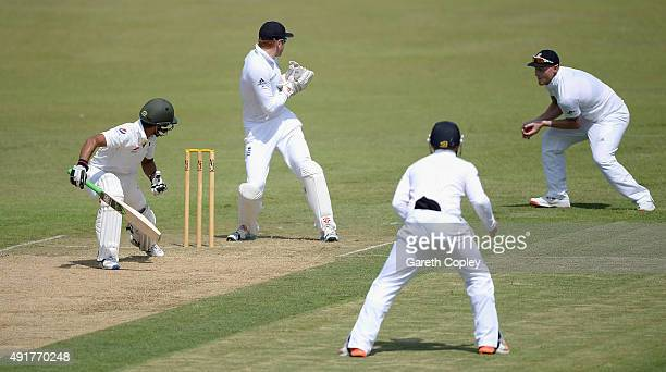 Ben Stokes of England catches out Fawad Alam of Pakistan A during day one of the tour match between Pakistan A and England at Sharjah Cricket Stadium...