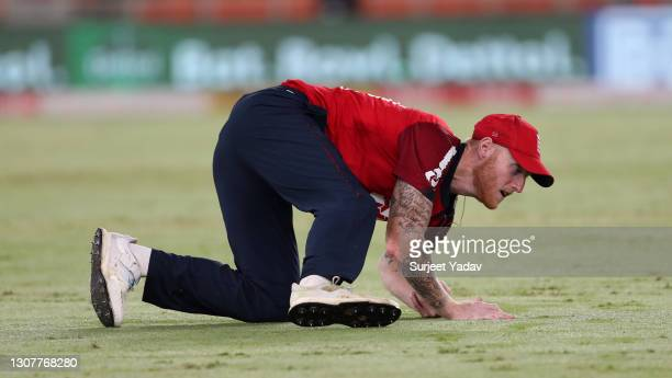 Ben Stokes of England catches out Hardik Pandya of India during the 4th T20 International between India and England at Narendra Modi Stadium on March...