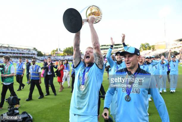 Ben Stokes of England celebrate after winning the Cricket World Cup during the Final of the ICC Cricket World Cup 2019 between New Zealand and...