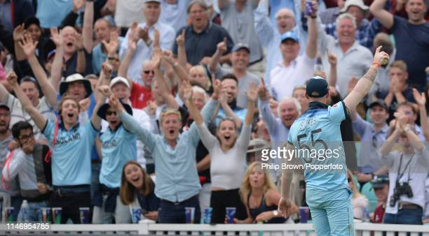 Ben Stokes of England celebrates after catching Andile Phehlukwayo of South Africa during the ICC Cricket World Cup Group Match between England and...