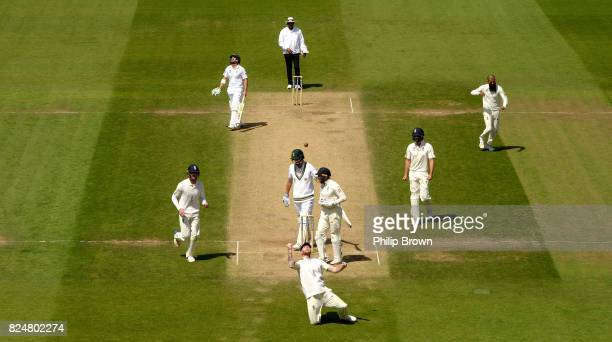 Ben Stokes of England celebrates after catching Chris Morris of South Africa during the fifth day of the 3rd Investec Test match between England and...