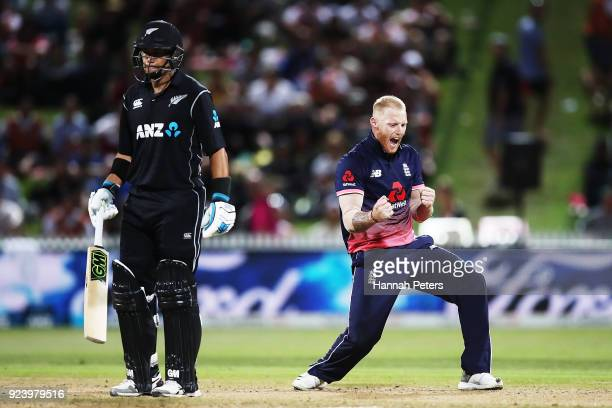 Ben Stokes of England celebrates after claiming the wicket of Tom Latham of the Black Caps during game one in the One Day International series...