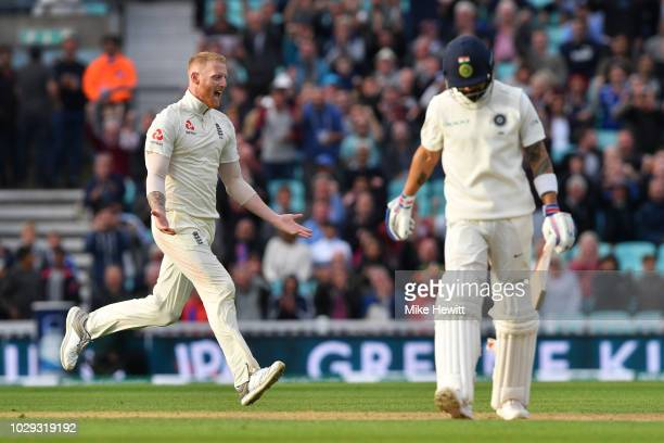 Ben Stokes of England celebrates after dismissing Virat Kohli of India during the Specsavers 5th Test Day Two between England and India at The Kia...