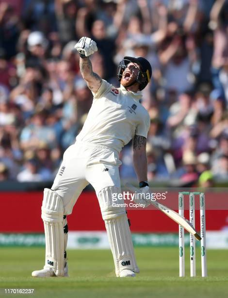 Ben Stokes of England celebrates after hitting the winning runs to win the 3rd Specsavers Ashes Test match between England and Australia at...