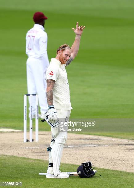 Ben Stokes of England celebrates after reaching his century by making a gesture dedicated to his father during Day Two of the 2nd Test Match in the...