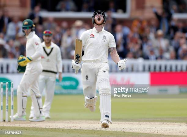 Ben Stokes of England celebrates after reaching his century during day five of the 2nd Specsavers Ashes Test between England and Australia at Lord's...