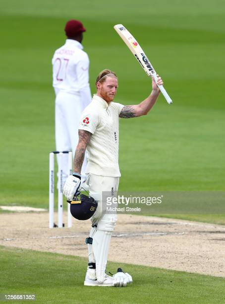Ben Stokes of England celebrates after reaching his century during Day Two of the 2nd Test Match in the #RaiseTheBat Series between England and The...