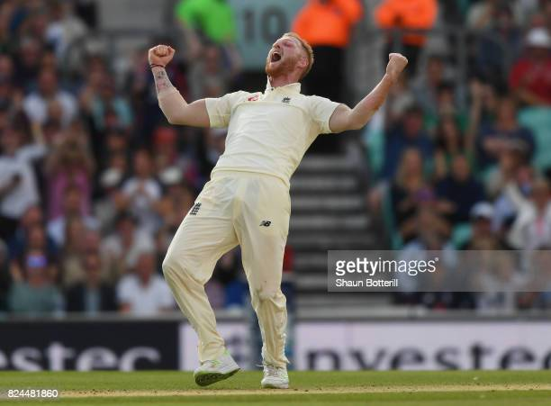 Ben Stokes of England celebrates after taking the wicket of Faf du Plessis of South Africa during day four of the 3rd Investec Test match between...