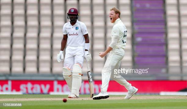 Ben Stokes of England celebrates after taking the wicket of Kraigg Brathwaite of the West Indies by LBW during Day Three of the 1st #RaiseTheBat Test...