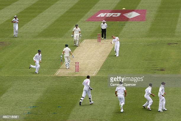 Ben Stokes of England celebrates dismissing Australian captain Michael Clarke during day one of the Fifth Ashes Test match between Australia and...