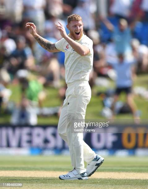 Ben Stokes of England celebrates dismissing Colin de Grandhomme of New Zealand during day three of the first Test match between New Zealand and...