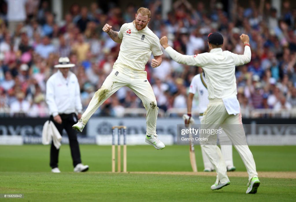 Ben Stokes of England celebrates dismissing Dean Elgar of South Africa during day three of the 2nd Investec Test match between England and South Africa at Trent Bridge on July 16, 2017 in Nottingham, England.