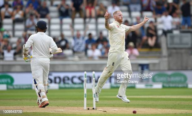 Ben Stokes of England celebrates dismissing Dinesh Karthik of India during day two of the Specsavers 1st Test between England and India at Edgbaston...