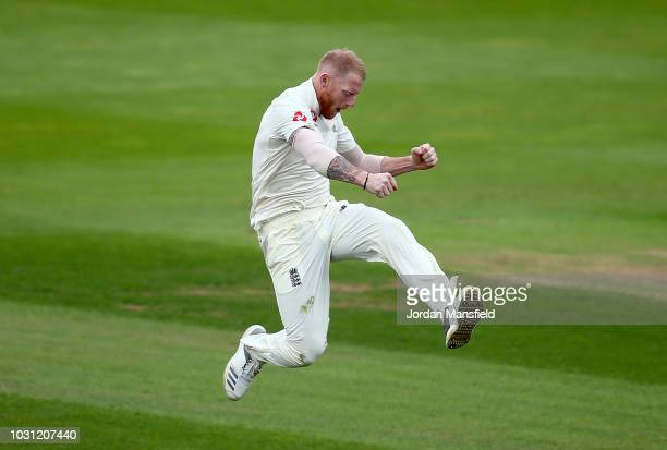 Ben Stokes of England celebrates dismissing Hanuma Vihari of India during day five of the Specsavers 5th Test match between England and India at The...