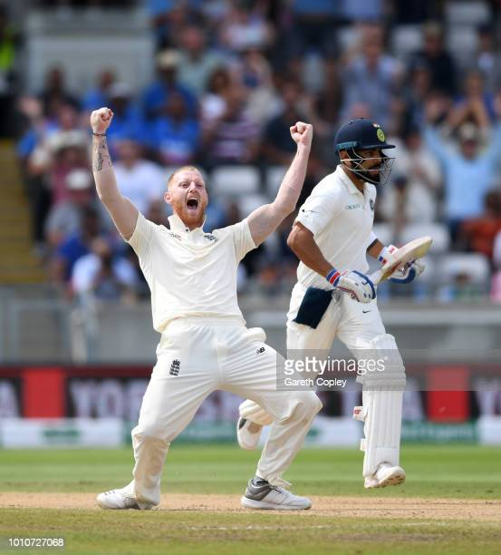 Ben Stokes of England celebrates dismissing India captain Virat Kohli during day four of the Specsavers 1st Test match between England and India at...