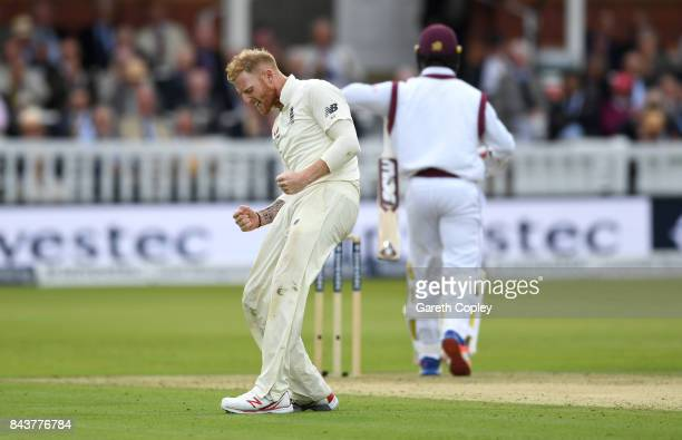 Ben Stokes of England celebrates dismissing Kemar Roach of the West Indies during day one of the 3rd Investec Test match between England and the West...