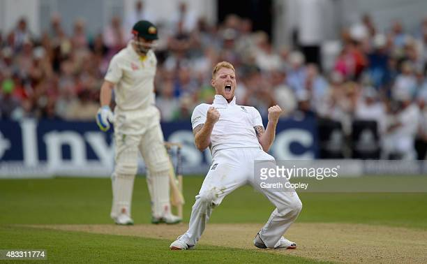 Ben Stokes of England celebrates dismissing Peter Nevill of Australia during day two of the 4th Investec Ashes Test match between England and...