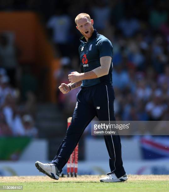 Ben Stokes of England celebrates dismissing Shai Hope of the West Indies during the 1st One Day International match between the West Indies and...