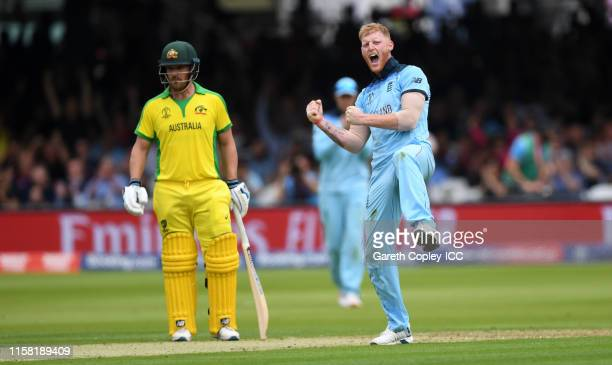 Ben Stokes of England celebrates dismissing Usman Khawaja of Australia during the Group Stage match of the ICC Cricket World Cup 2019 between England...