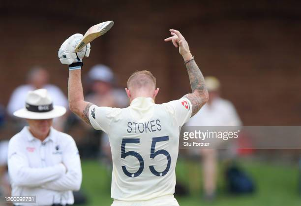 Ben Stokes of England celebrates his century during Day Two of the Third Test between South Africa and England at St George's Park on January 17,...