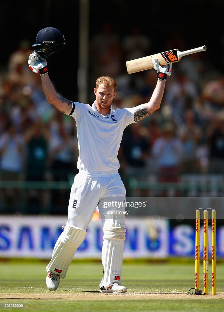Ben Stokes of England celebrates his century during day two of the 2nd Test at Newlands Stadium on January 3, 2016 in Cape Town, South Africa.