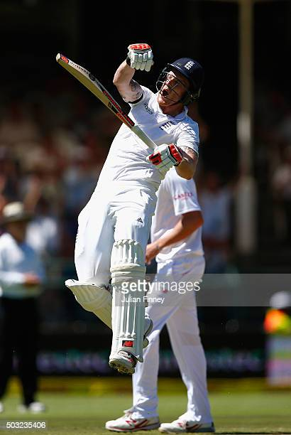 Ben Stokes of England celebrates his century during day two of the 2nd Test at Newlands Stadium on January 3 2016 in Cape Town South Africa