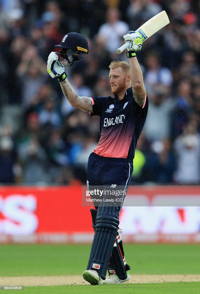 Ben Stokes of England celebrates his century during the ICC Champions Trophy match between England and Australia at Edgbaston on June 10, 2017 in Birmingham, England.