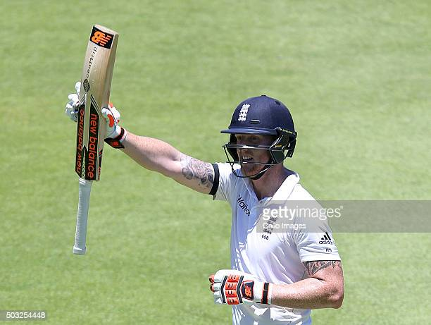 Ben Stokes of England celebrates his double century during day 2 of the 2nd Test match between South Africa and England at PPC Newlands on January 03...