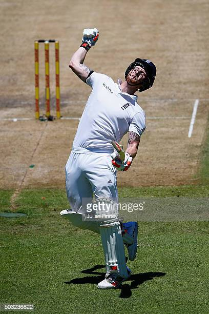 Ben Stokes of England celebrates his double century during day two of the 2nd Test at Newlands Stadium on January 3 2016 in Cape Town South Africa