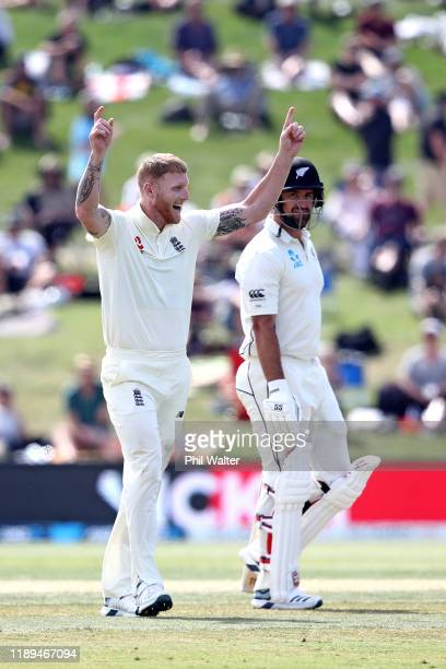 Ben Stokes of England celebrates his wicket of Colin de Grandhomme of New Zealand during day three of the first Test match between New Zealand and...