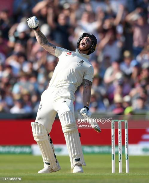 Ben Stokes of England celebrates hitting the winning runs to win the 3rd Specsavers Ashes Test match between England and Australia at Headingley on...