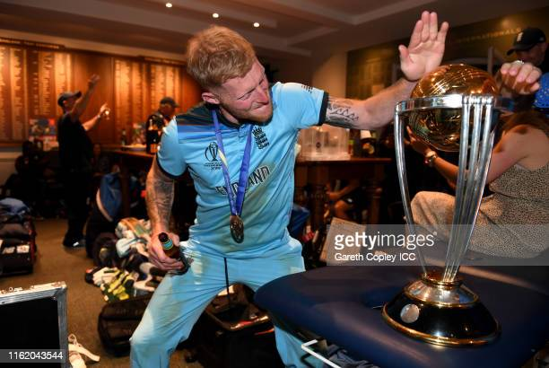 Ben Stokes of England celebrates in the dressing rooms after winning the Final of the ICC Cricket World Cup 2019 between England and New Zealand at...