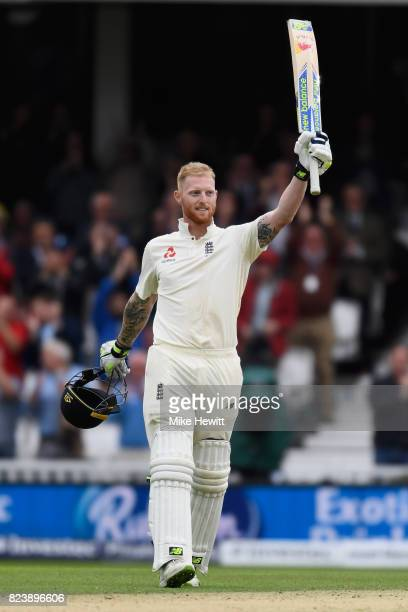 Ben Stokes of England celebrates reaching his century during Day Two of the 3rd Investec Test match between England and South Africa at The Kia Oval...