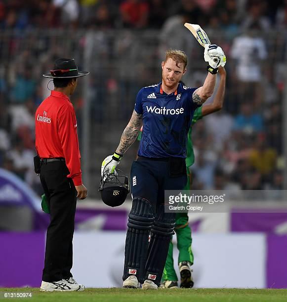 Ben Stokes of England celebrates reaching his century during the 1st One Day International match between Bangladesh and England at ShereBangla...