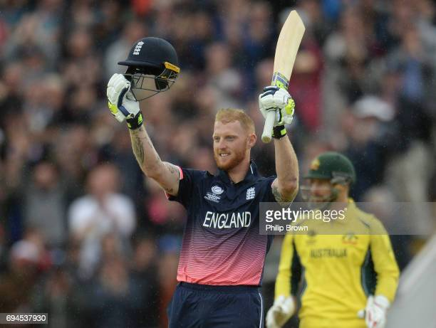 Ben Stokes of England celebrates reaching his century watched by Matthew Wade of Australia during the ICC Champions Trophy match between England and...