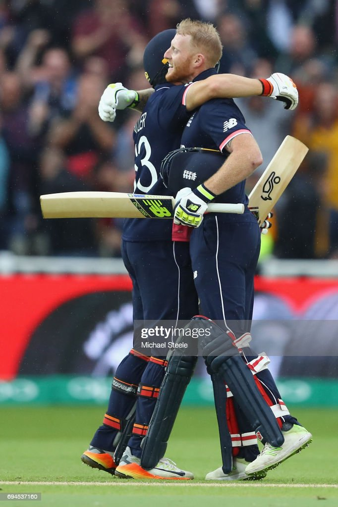 Ben Stokes of England celebrates reaching his century with Jos Buttler during the ICC Champions Trophy match between England and Australia at Edgbaston on June 10, 2017 in Birmingham, England.