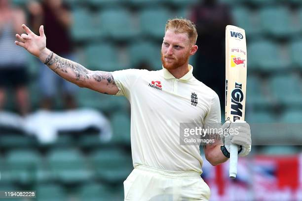 Ben Stokes of England celebrates scoring 100 runs during day 2 of the 3rd Test match between South Africa and England at St Georges Park on January...