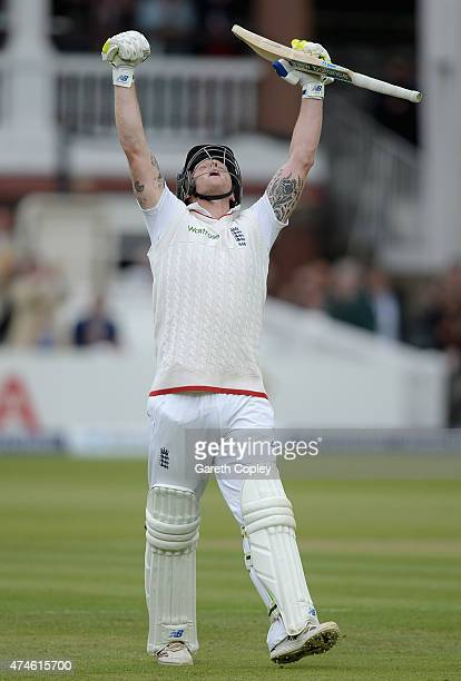 Ben Stokes of England celebrates scoring his century during day four of 1st Investec Test match between England and New Zealand at Lord's Cricket...