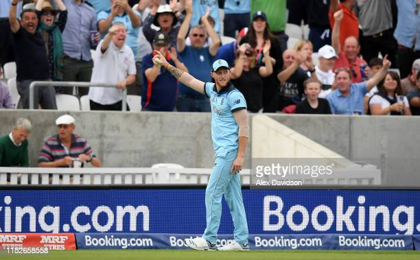 Ben Stokes of England celebrates taking the catch of Andile Phehlukwayo of South Africa during the Group Stage match of the ICC Cricket World Cup...