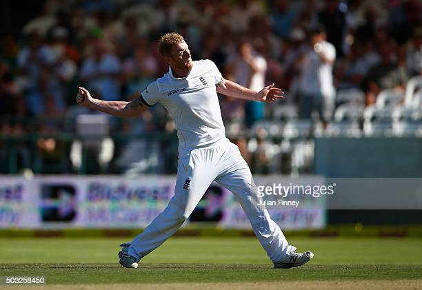 Ben Stokes of England celebrates taking the wicket of Dean Elgar of South Africa caught out by Nick Compton of England during day two of the 2nd Test...