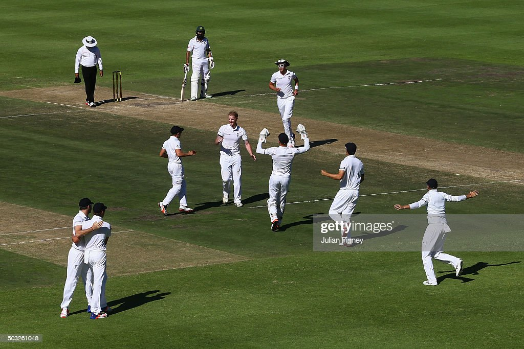 Ben Stokes of England celebrates taking the wicket of Dean Elgar of South Africa caught out by Nick Compton of England during day two of the 2nd Test at Newlands Stadium on January 3, 2016 in Cape Town, South Africa.