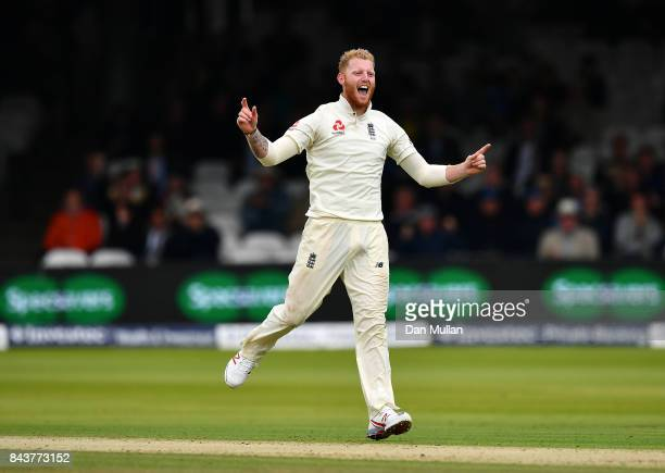 Ben Stokes of England celebrates taking the wicket of Jason Holder of the West Indies during day one of the 3rd Investec Test Match between England...