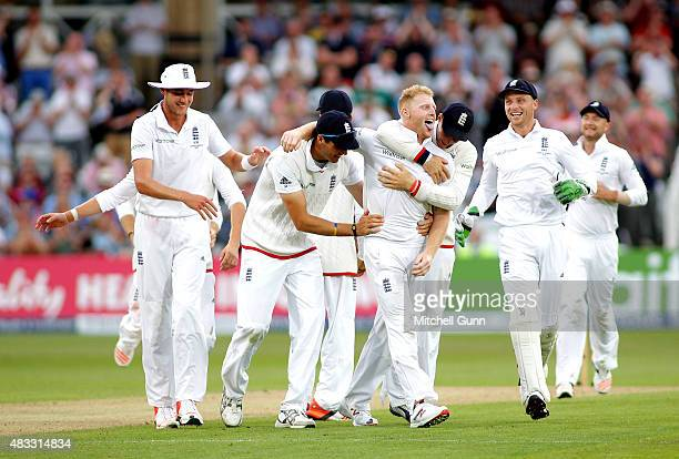 Ben Stokes of England celebrates taking the wicket of Mitchell Johnson of Australia during day two of the 4th Investec Ashes Test match between...