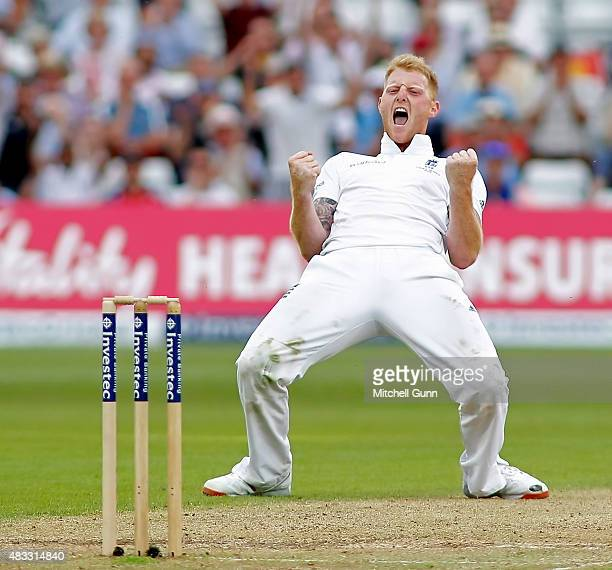 Ben Stokes of England celebrates taking the wicket of Peter Nevill of Australia during day two of the 4th Investec Ashes Test match between England...