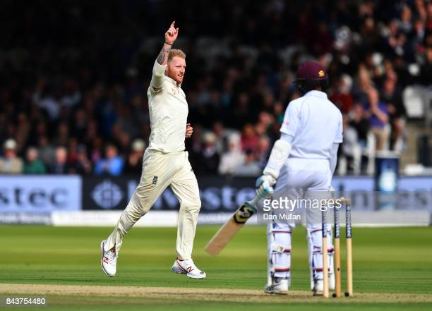 Ben Stokes of England celebrates taking the wicket of Shane Dowrich of the West Indies during day one of the 3rd Investec Test Match between England...
