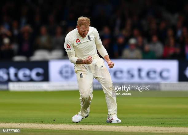 Ben Stokes of England celebrates taking the wicket of Shannon Gabriel of the West Indies during day one of the 3rd Investec Test Match between...