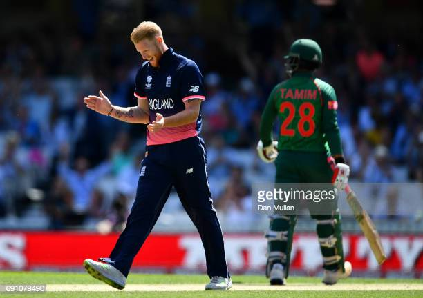 Ben Stokes of England celebrates taking the wicket of Soumya Sarkar of Bangladesh during the ICC Champions Trophy Group A match between England and...