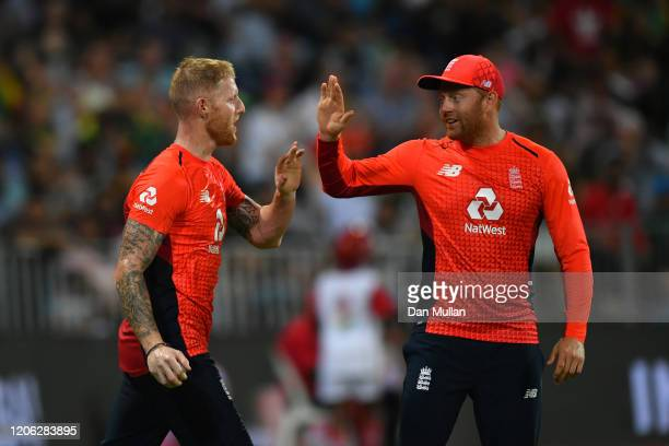 Ben Stokes of England celebrates the dismissal of Quinton de Kock of South Africa during the Second T20 International match between England and South...
