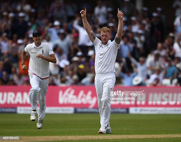 Ben Stokes of England celebrates the wicket of Chris Rogers of Australia during day two of the 4th Investec Ashes Test match between England and...